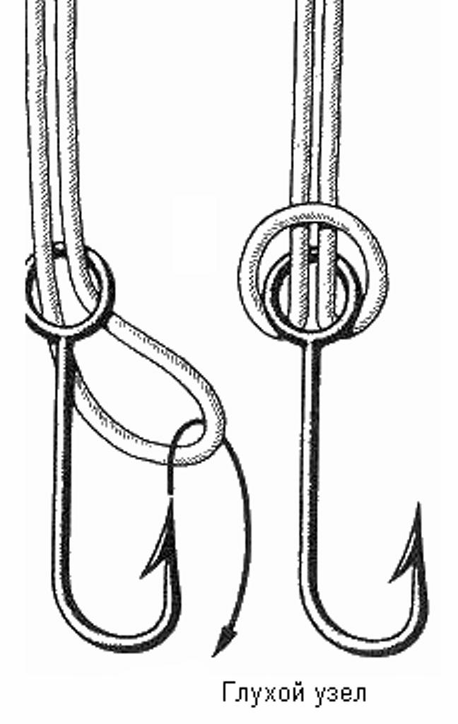 Крючок леске глухим узлом