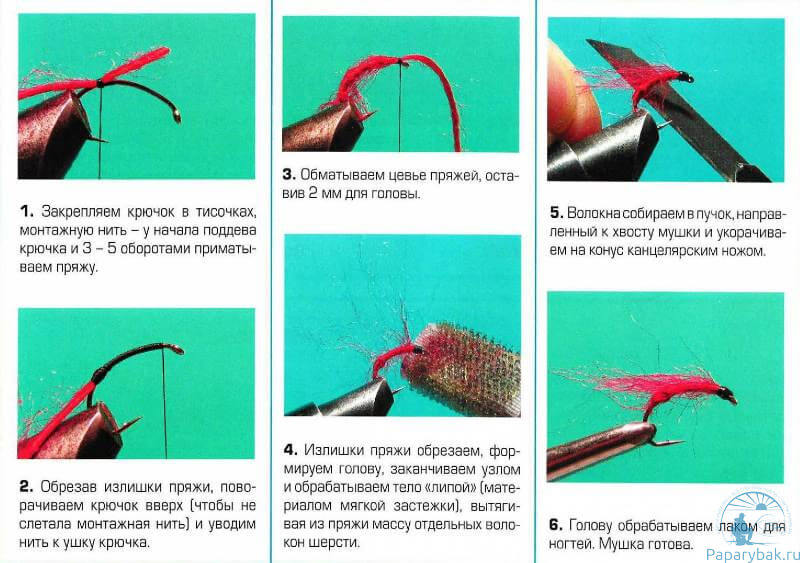 Схема сборки мушки