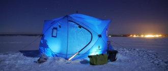 палатка с освещением на снегу