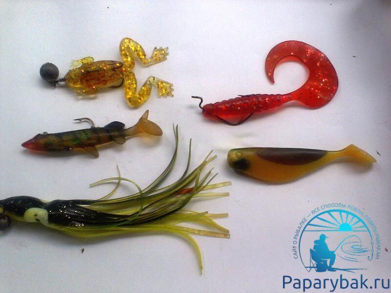 Резиновые: лягушка, осьминог, рыбки